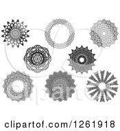 Clipart Of Black And White Lace Circle Designs Royalty Free Vector Illustration
