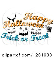 Clipart Of A Bat Cat And Jackolantern Faces With Happy Halloween Trick Or Treat Text Royalty Free Vector Illustration by Vector Tradition SM