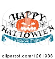 Clipart Of A Happy Halloween Trick Or Treat Design With A Jackolantern And Spider Webs Royalty Free Vector Illustration
