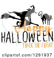 Clipart Of A Happy Halloween Trick Or Treat Design With A Witch And Cat Royalty Free Vector Illustration by Vector Tradition SM