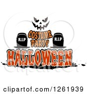 Clipart Of A Jackolantern Face Over Tombstones And Costume Party Halloween Text Royalty Free Vector Illustration