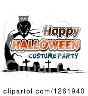 Clipart Of A Perched Owl Over A Cemetery And Happy Halloween Costume Party Text Royalty Free Vector Illustration