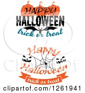Clipart Of Happy Halloween Trick Or Treat Designs Royalty Free Vector Illustration