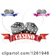 Clipart Of Black And White Dice Over Casino Banners Royalty Free Vector Illustration by Vector Tradition SM