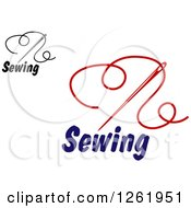 Clipart Of Sewing Needles And Thread Over Text Royalty Free Vector Illustration