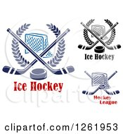 Clipart Of Hockey Goal Nets In Laurel Wreaths With Crossed Sticks And Pucks Over Text Royalty Free Vector Illustration