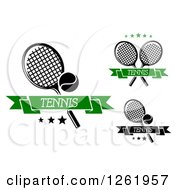 Clipart Of Tennis Rackets With Stars Text And Banners Royalty Free Vector Illustration