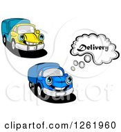 Clipart Of Blue And Yellow Delivery Trucks Royalty Free Vector Illustration