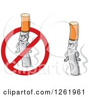 Clipart Of Grinning Cigarettes And A Restricted Symbol Royalty Free Vector Illustration
