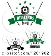 Clipart Of Billiards Pool Eightballs With Stars Cue Sticks And Bow Sover Banners Royalty Free Vector Illustration