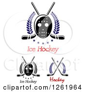 Clipart Of Hockey Masks Crossed Sticks And Text Royalty Free Vector Illustration