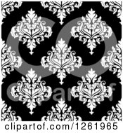 Clipart Of A Seamless Background Pattern Of White Damask Floral On Black Royalty Free Vector Illustration