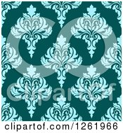 Clipart Of A Seamless Background Pattern Of Blue Damask Floral On Teal Royalty Free Vector Illustration