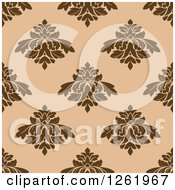 Clipart Of A Seamless Background Pattern Of Brown Damask Floral On Tan Royalty Free Vector Illustration