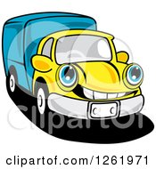 Clipart Of A Blue And Yellow Moving Truck Royalty Free Vector Illustration by Vector Tradition SM