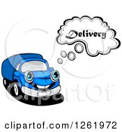 Clipart Of A Blue Delivery Truck Thinking Royalty Free Vector Illustration by Vector Tradition SM