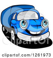 Clipart Of A Blue Delivery Truck Royalty Free Vector Illustration by Vector Tradition SM
