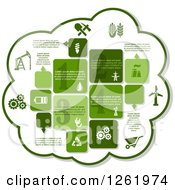 Clipart Of A Green Cloud Industrial Infographics Design With Oil Pump Energy Saving Lamp Drop Factory Pipe Electric Plug Oil Rig Battery Gear Cart Wind Engine And Eco Recycle Sign Royalty Free Vector Illustration