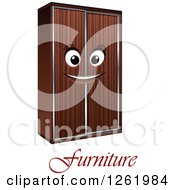 Clipart Of A Happy Wardrobe Character Over Furniture Text Royalty Free Vector Illustration by Vector Tradition SM