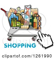 Clipart Of A Hand Cursor Over A Shopping Cart Full Of Groceries And Text Royalty Free Vector Illustration by Vector Tradition SM