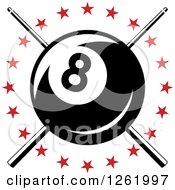 Billiards Pool Eightball Over Crossed Cue Sticks In A Circle Of Red Stars
