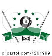 Clipart Of A Billiards Pool Eightball With Stars Cue Sticks And A Bow Over A Blank Green Banner Royalty Free Vector Illustration