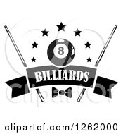 Clipart Of A Black And White Billiards Pool Eightball With Stars Cue Sticks And A Bow Over A Blank Banner Royalty Free Vector Illustration