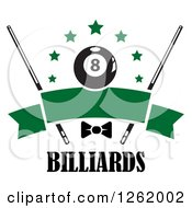 Clipart Of A Billiards Pool Eightball With Stars Cue Sticks And A Bow Over A Blank Green Banner Above Text Royalty Free Vector Illustration