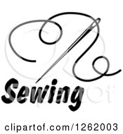 Clipart Of A Black And White Sewing Needle And Thread Over Text Royalty Free Vector Illustration by Vector Tradition SM