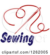 Clipart Of A Red Sewing Needle And Thread Over Text Royalty Free Vector Illustration by Vector Tradition SM