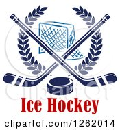 Clipart Of A Hockey Goal Net In A Laurel Wreath With Crossed Sticks And A Puck Over Text Royalty Free Vector Illustration