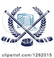 Clipart Of A Hockey Goal Net In A Laurel Wreath With Crossed Sticks And A Puck Royalty Free Vector Illustration