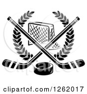Clipart Of A Black And White Hockey Goal Net In A Laurel Wreath With Crossed Sticks And A Puck Royalty Free Vector Illustration
