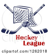 Clipart Of A Hockey Goal Net With Crossed Sticks And A Puck Over Text Royalty Free Vector Illustration