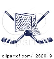 Clipart Of A Hockey Goal Net With Crossed Sticks And A Puck Royalty Free Vector Illustration