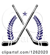 Clipart Of A Star Over Crossed Hockey Sticks And Laurels Royalty Free Vector Illustration