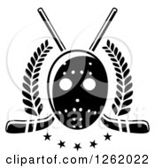 Clipart Of A Black And White Hockey Mask Over Crossed Sticks Laurels And Stars Royalty Free Vector Illustration