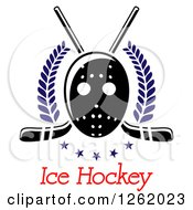 Clipart Of A Hockey Mask Over Crossed Sticks Laurels Stars And Text Royalty Free Vector Illustration