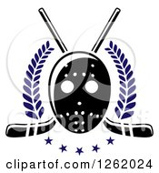 Clipart Of A Hockey Mask Over Crossed Sticks Laurels And Stars Royalty Free Vector Illustration