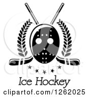 Clipart Of A Black And White Hockey Mask Over Crossed Sticks Laurels Stars And Text Royalty Free Vector Illustration