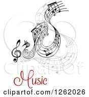 Clipart Of Grayscale Flowing Music Notes Over Text Royalty Free Vector Illustration