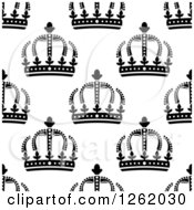 Clipart Of A Seamless Background Pattern Of Black And White Crowns Royalty Free Vector Illustration