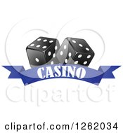Clipart Of Black And White Dice Over A Blue Casino Banner Royalty Free Vector Illustration