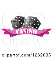 Clipart Of Black And White Dice Over A Pink Casino Banner Royalty Free Vector Illustration