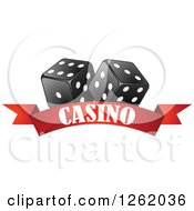 Clipart Of Black And White Dice Over A Red Casino Banner Royalty Free Vector Illustration