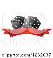 Clipart Of Black And White Casino Dice Over A Blank Red Banner Royalty Free Vector Illustration