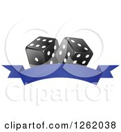 Clipart Of Black And White Casino Dice Over A Blank Blue Banner Royalty Free Vector Illustration