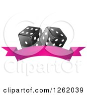Clipart Of Black And White Casino Dice Over A Blank Pink Banner Royalty Free Vector Illustration