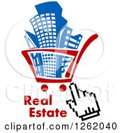 Clipart Of A Hand Cursor Over A Shopping Cart Full Of Buildings With Real Estate Text Royalty Free Vector Illustration by Vector Tradition SM