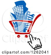 Clipart Of A Hand Cursor Over A Shopping Cart Full Of Buildings Royalty Free Vector Illustration by Vector Tradition SM